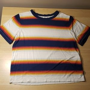 Soft and Sexy Striped Sunset Ringer Tee